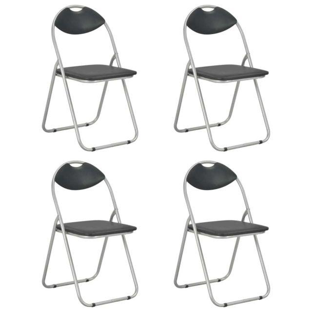 uco chaises pliantes de salle a manger 4 pcs noir similicuir