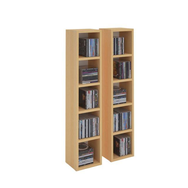 etageres modulables musique pour cd et dvd lot de 2 meubles de rangement en