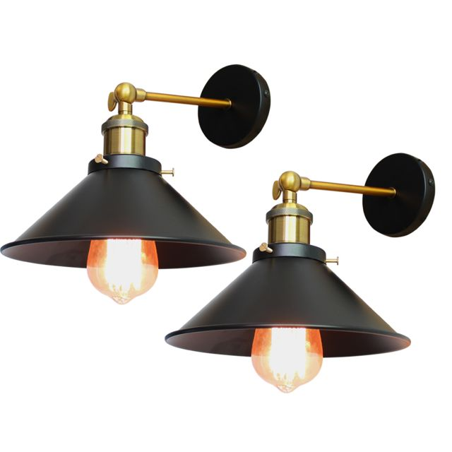 2pcs applique murale metal fer 26cm e27 noir lampe retro industrielle