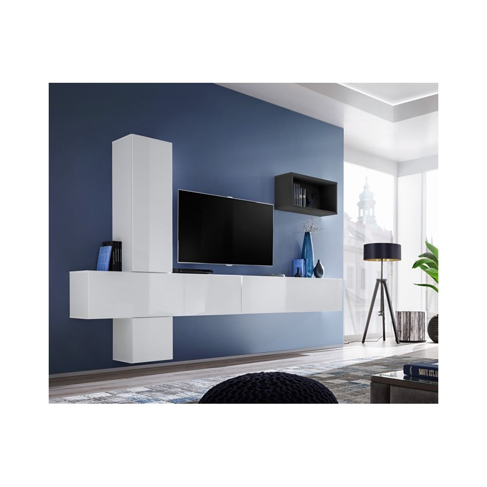 paris prix meuble tv mural design blox vi 280cm blanc noir