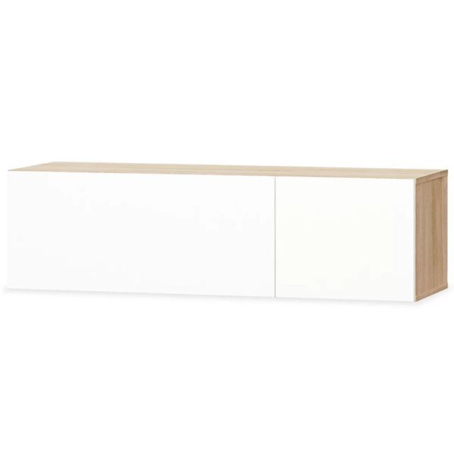 meuble tele buffet tv television design pratique agglomere 120 cm chene