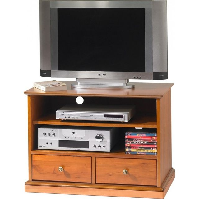 meuble tv merisier 2 tiroirs roulettes