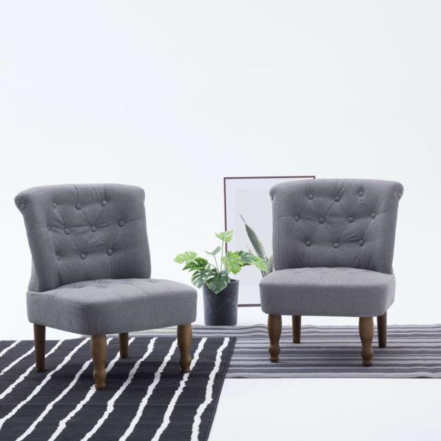 vidaxl chaise francaise gris clair tissu siege fauteuil cuisine chambre salon