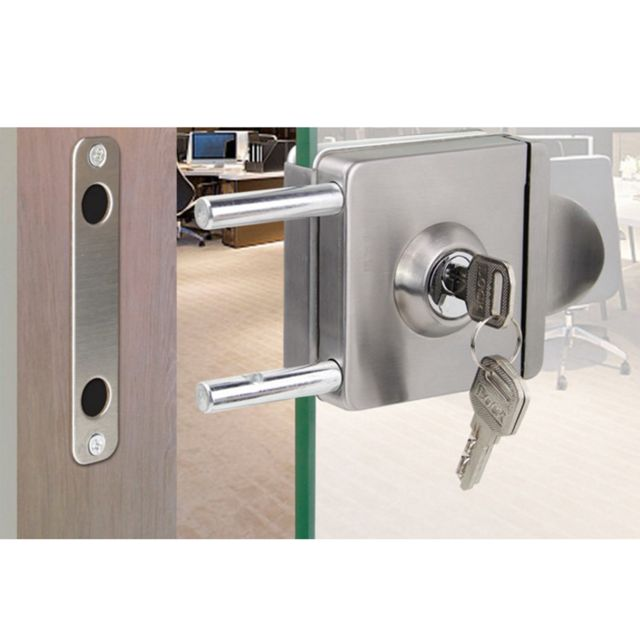 serrure de porte coulissante en verre en acier inoxydable sans poinconnage avec