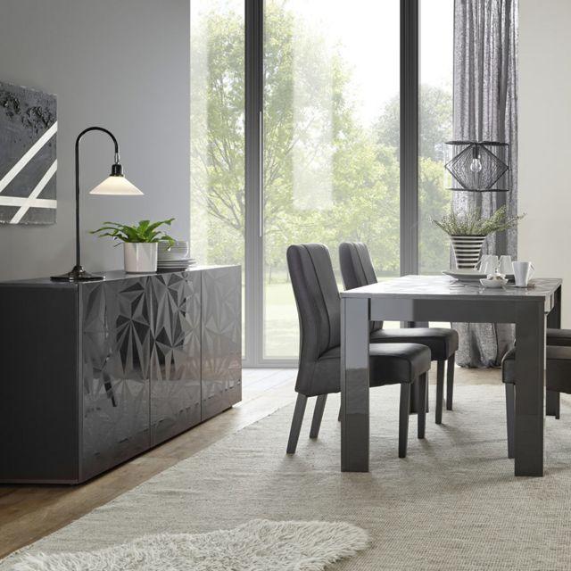 salle a manger gris laque buffet 3 portes table 180 design nino 2