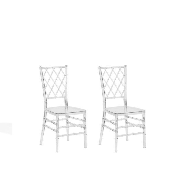 beliani lot de 2 chaises transparentes clarion transparent