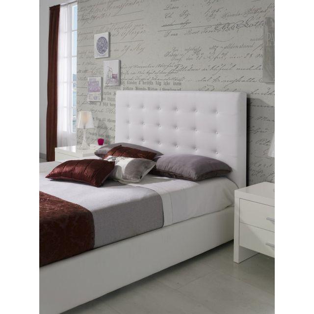 tete de lit pour lit 160 cm en simili cuir blanc granti l 172 x h 118
