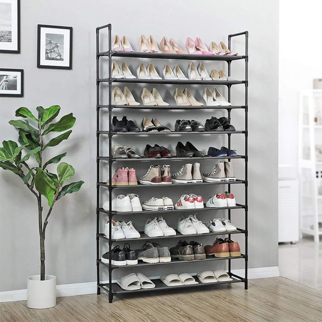 meuble a chaussures en acier 10 etageres 100 x 30 x 176 cm noir