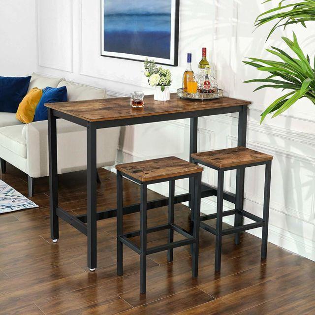 vasagle alinru lot table et chaises de bar table haute avec 2 tabourets de