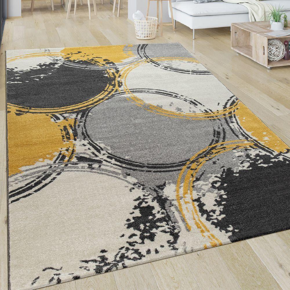 paco home tapis salon motif moderne poils ras abstrait cercles jaune gris blanc
