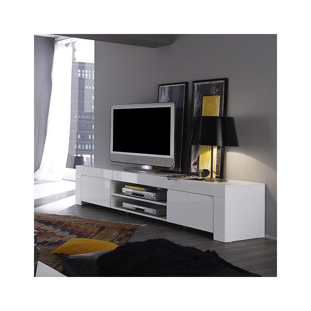 meuble tv blanc laque design pietra