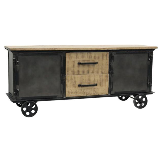 meuble tele industriel campagne tv enfilade sur roulettes 151 cm x 64 cm