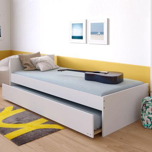lit gigogne podium 90x190 avec tete de lit 2 sommiers 1 tiroir lit blanc
