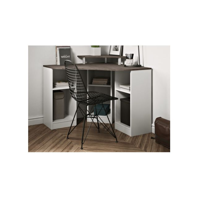 bureau d angle avec etageres fiducia coloris blanc beton