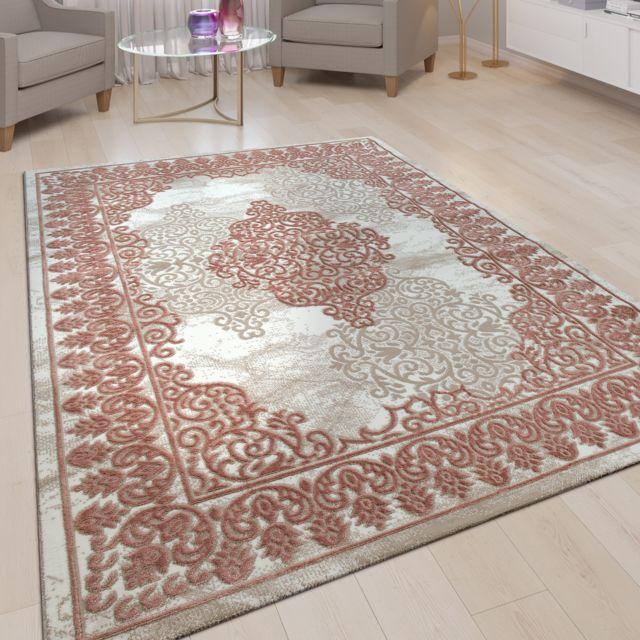 tapis de salon a poils ras aspect 3d modele oriental ornements rose