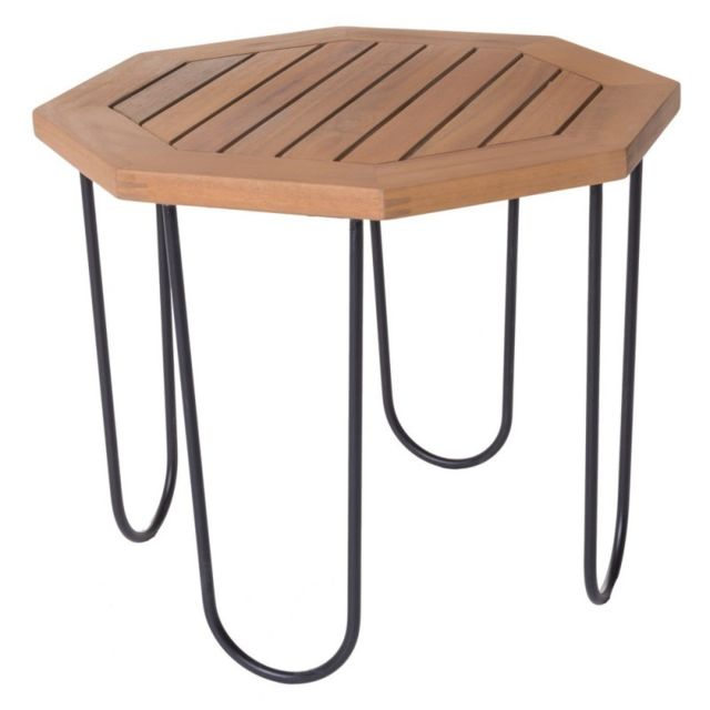 table de salon de jardin octogonale 50cm en bois d acacia et metal salamanque