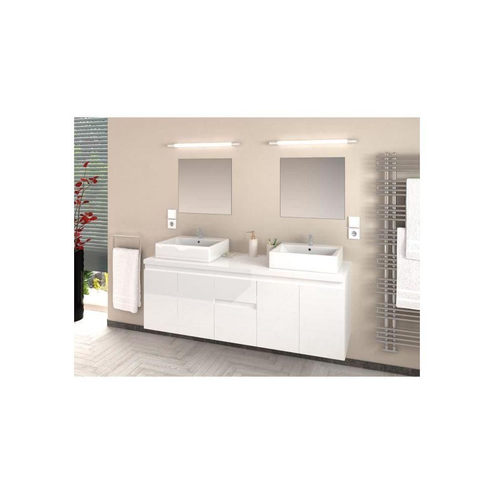 marque generique icaverne salle de bain complete cina ensemble salle de bain double vasque l 150 cm blanc laque brillant