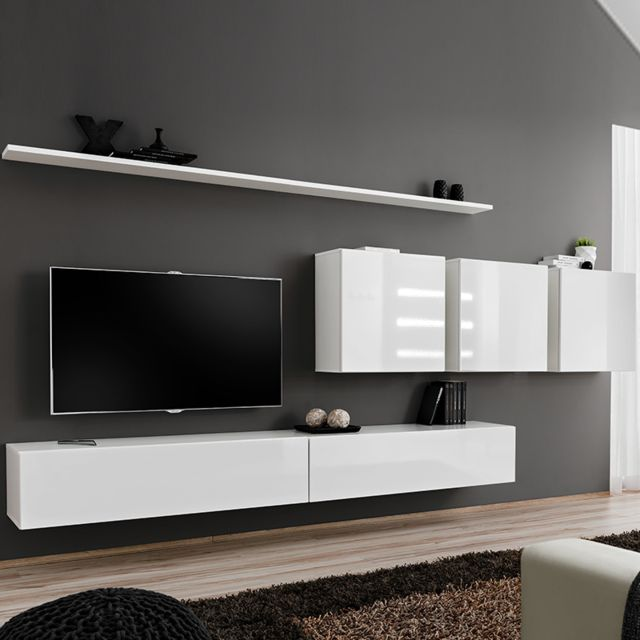 meuble tv blanc suspendu talsano 3