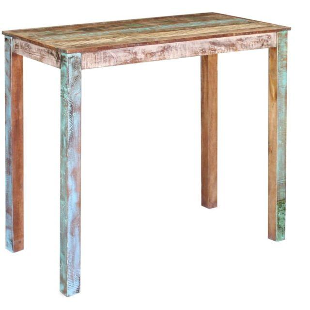 vidaxl table de bar bois massif de recuperation cuisine bistrot table haute