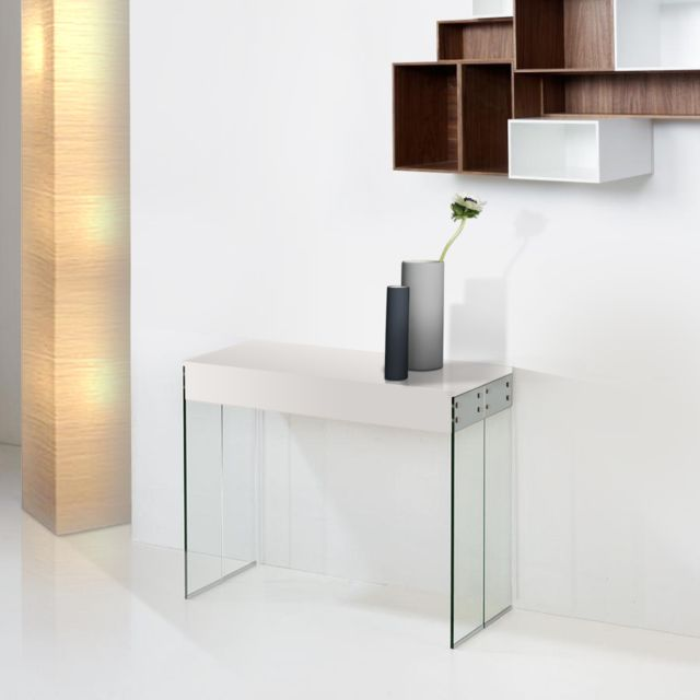 console extensible new york laque blanc