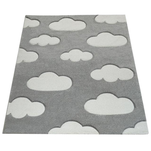 tapis chambre enfant adorable couleurs pastel motif nuages poils ras en gris