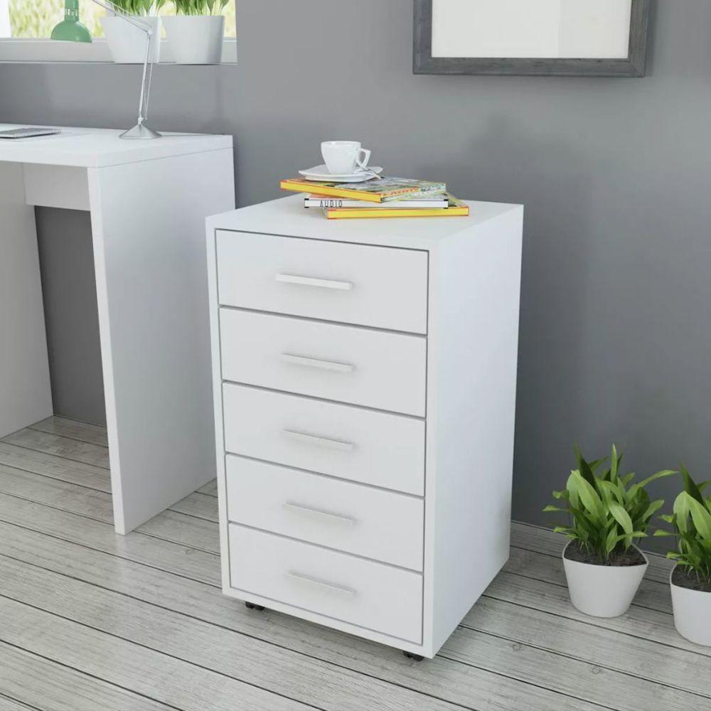 marque generique moderne armoires et meubles de rangement ensemble ramallah caisson a tiroir de bureau avec roulettes et 5 tiroirs blanc