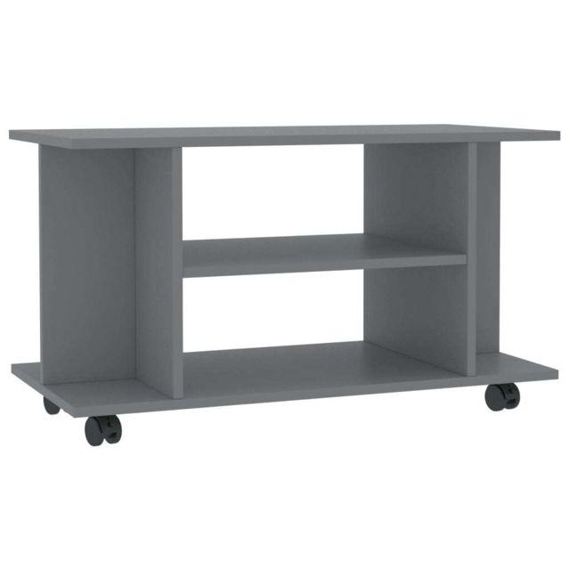 icaverne meubles tv ensemble meuble tv avec roulettes gris 80 x 40 x 40 cm