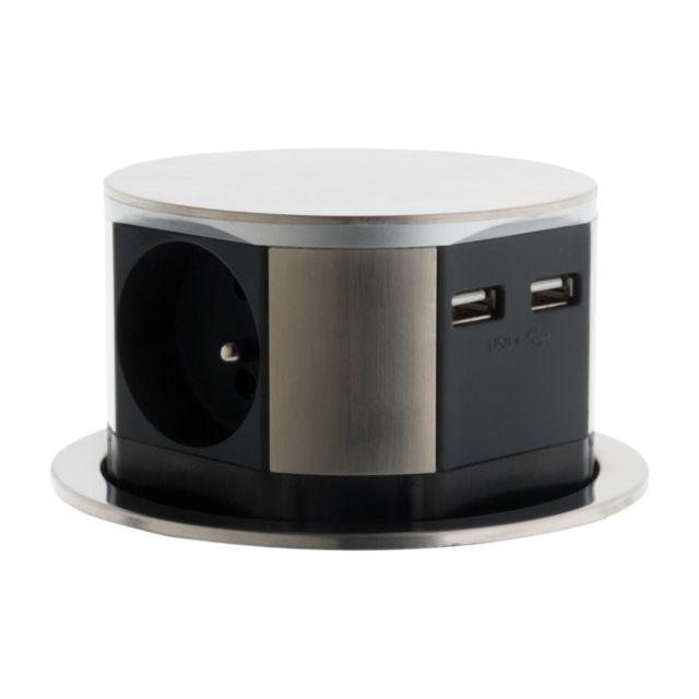 bloc multiprise escamotable compact 16a 3 prises 16a 2p t et 2 prises chargeurs