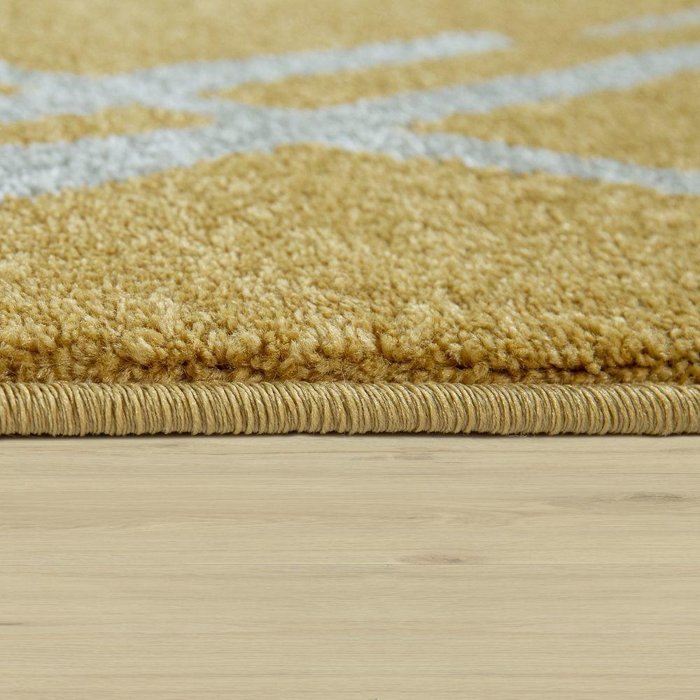 paco home tapis de salon poils ras avec design scandinave et motif losanges blanc jaune