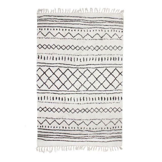 berbere ethno tapis en coton motifs ethniques ecru naturel 160x230