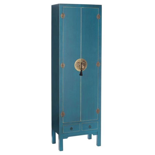 armoire lingere 2 portes 2 tiroirs bleue meuble chinois pekin