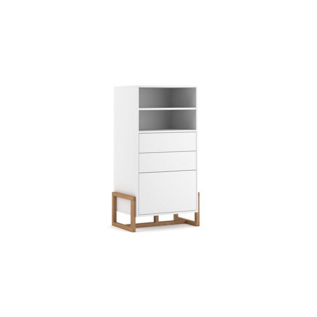 vivaldi commode haute oslo 63 cm blanc mat style moderne