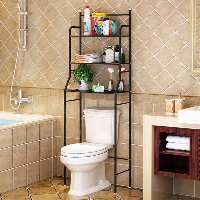 etagere de salle de bain meuble de rangement au dessus des toilettes wc noir