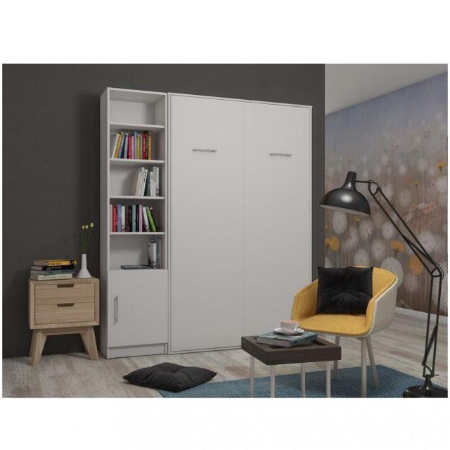 composition armoire lit escamotable smart v2 blanc mat couchage 140 x 200 cm