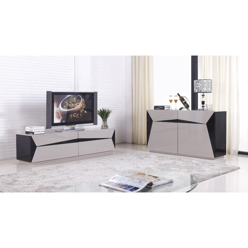 la maison du canape meuble tv laque esteban taupe et noir