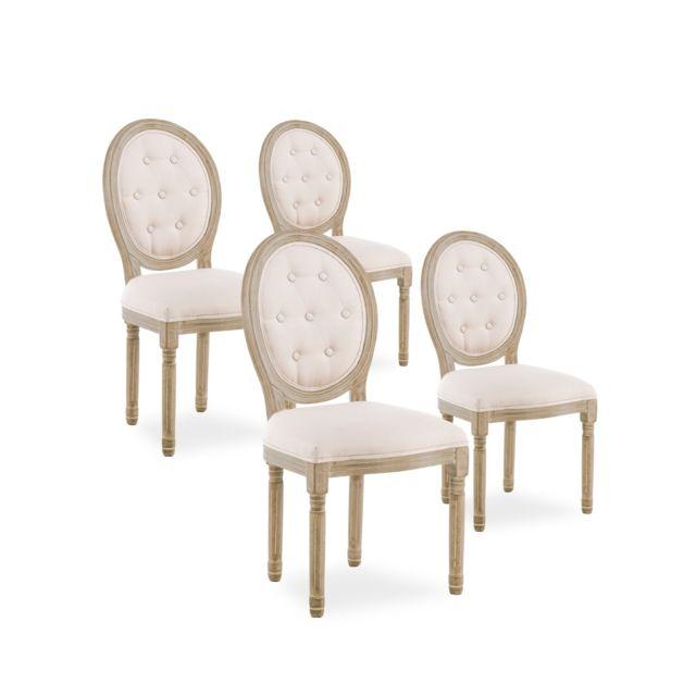 lot de 4 chaises medaillon capitonnees louis xvi tissu beige