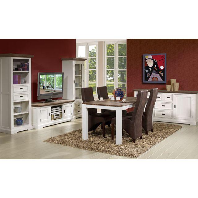 sofamobili meuble tv contemporain en bois massif blanc estelle