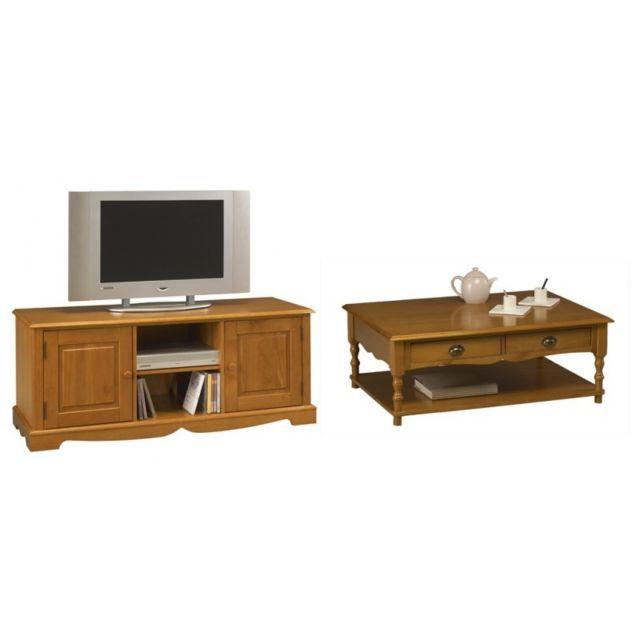ensemble table basse et meuble tv pin miel