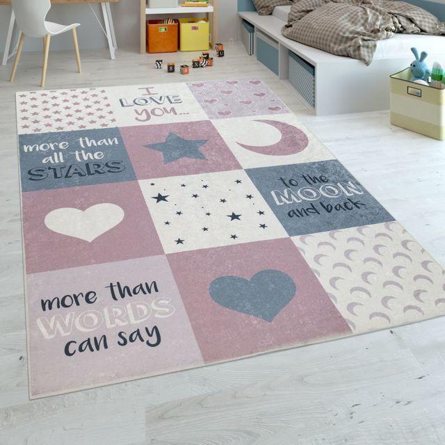 tapis chambre enfant filles lavable curs etoiles lune inscription rose gris