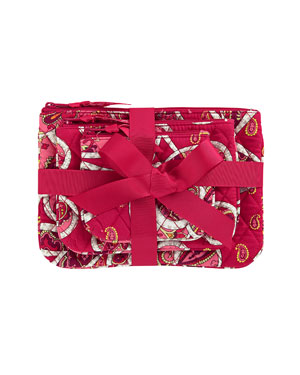 Vera Bradley Rosy Posies 3pc Cosmetic Bag Set