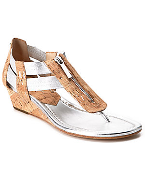 Donald J Pliner 'Dori' Leather & Cork Wedge Thong Sandal