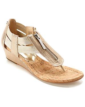 Donald J Pliner 'Dori' Snakeskin-<wbr/>Embossed Leather & Cork Wedge Thong Sandal