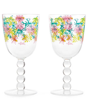 Lilly Pulitzer 'Dirty Shirley' Set of 4 Acrylic Wine Glasses