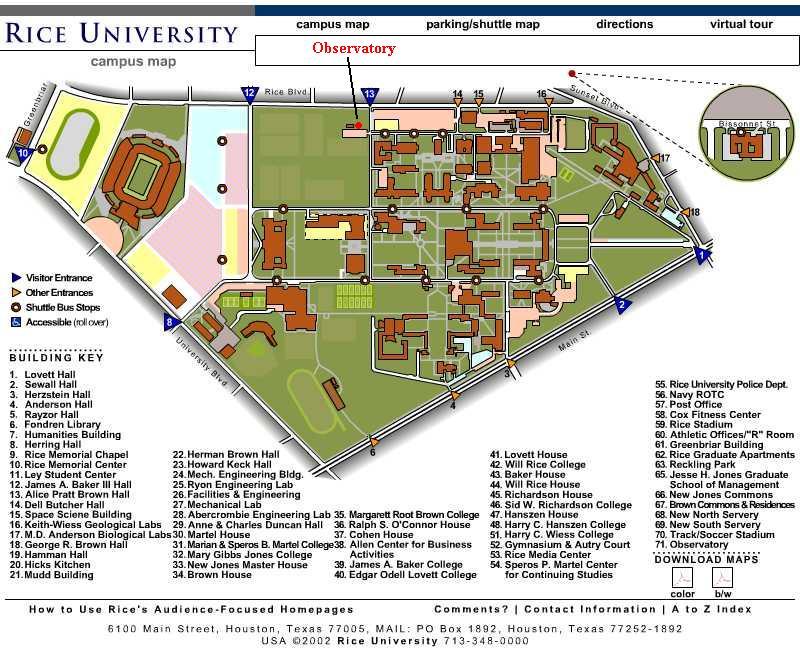 Campus Pdf Map University Rice