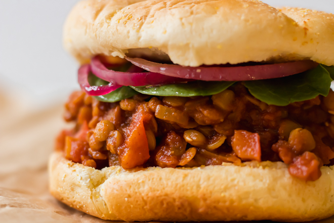 close up shot of sloppy joe's made from lentils
