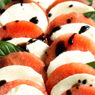 bright photo of watermelon and mozzarella salad