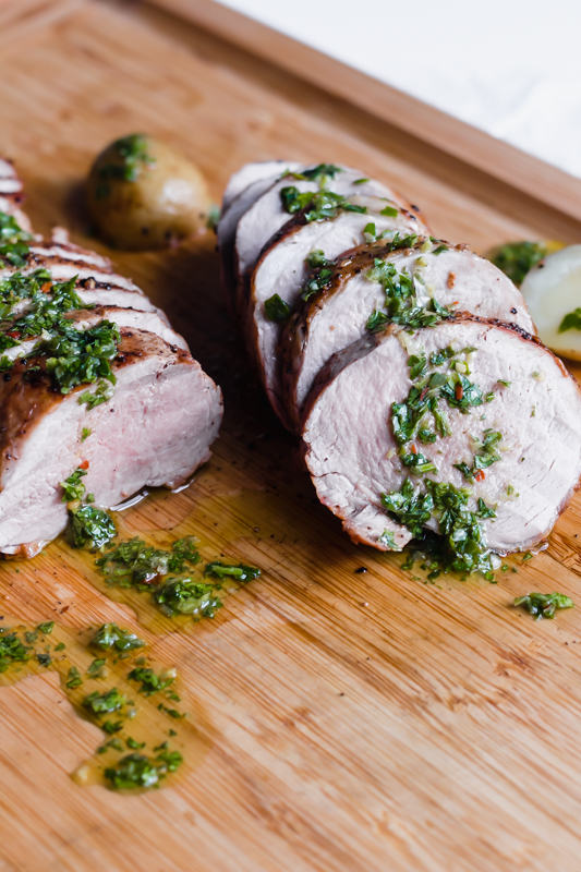 Roasted Pork Tenderloin with green herb sauce