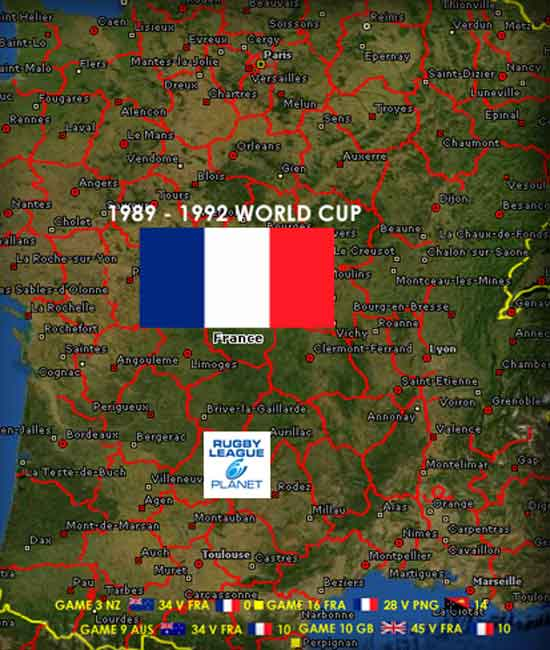 1989 to 1992 Rugby League World Cup map 2