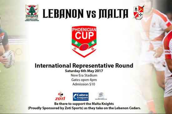 Lebanon v Malta in 2017 rugby league Phoenician Cup