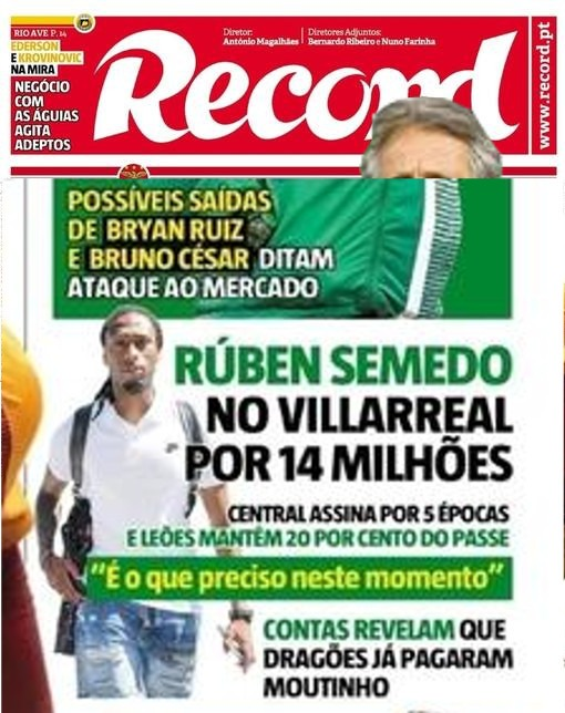 Neste dia, em 2017, Sporting vende Ruben Semedo por 14 milhões de euros ao Villarreal